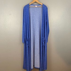 Lularoe Sara Duster Blue Striped Cardigan Size L